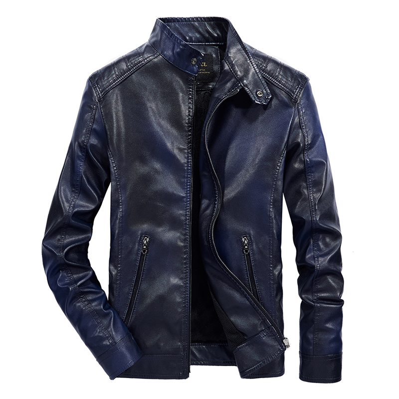 Newly Fashion Winter Men Jacket Stand Collar Velvet Warm Coats Streetwear Biker Jackets Men British PU Leather Jackets Hombre in Faux Leather Coats from Men 39 s Clothing