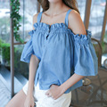 New 2017 Summer Sexy Off Shoulder Top Womens Half Sleeve Ruffle Jean Denim Shirt Ladie Sleeveless Casual Tops Y18