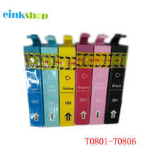 free shipping 24PK Brand new with chip inkjet T0801 - T0806 T0807 ink cartridge compatible EPSON RX585 printer цена