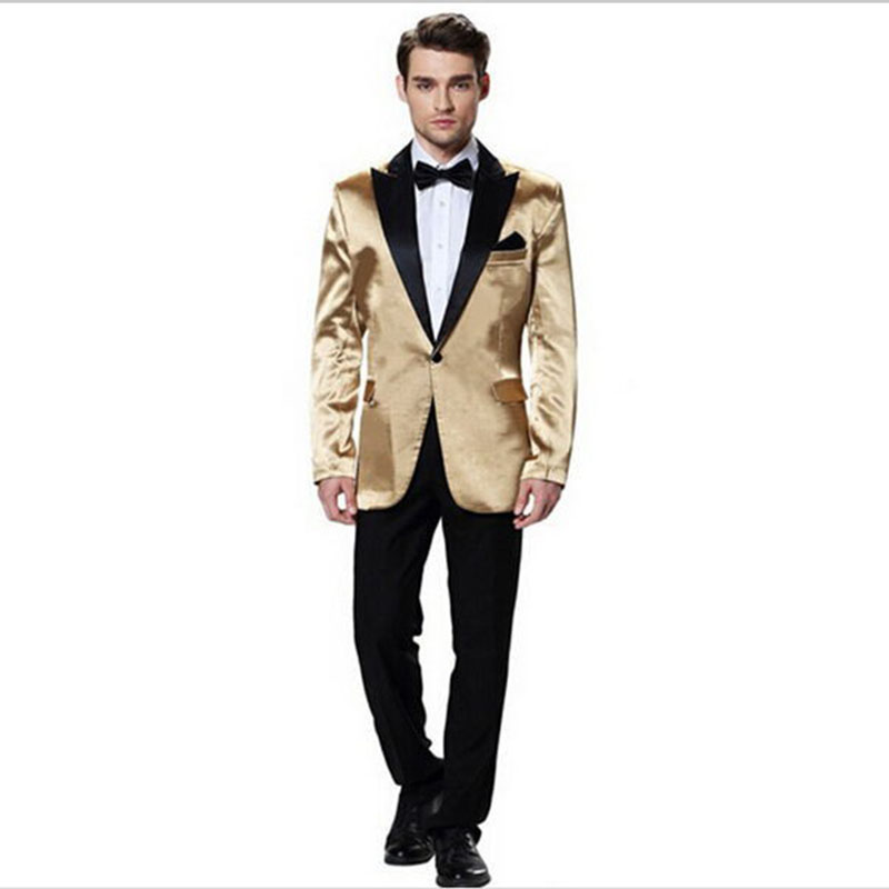 New High Quality Costume Homme Groom Suits Gold 2 Pieces Men Suits Slim Fit Groom Wedding Suits Tuxedos Terno Masculino