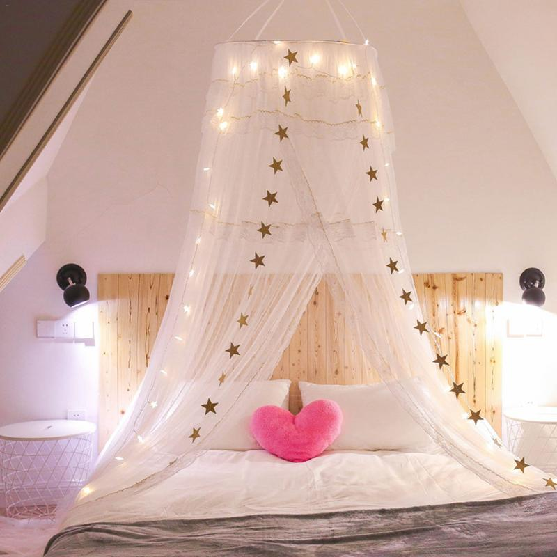 New Baby Girl Dream Bed Mosquito Net Round Dome Hanging Children Baby Room Decoration Crib Netting Tent Washable Detachable