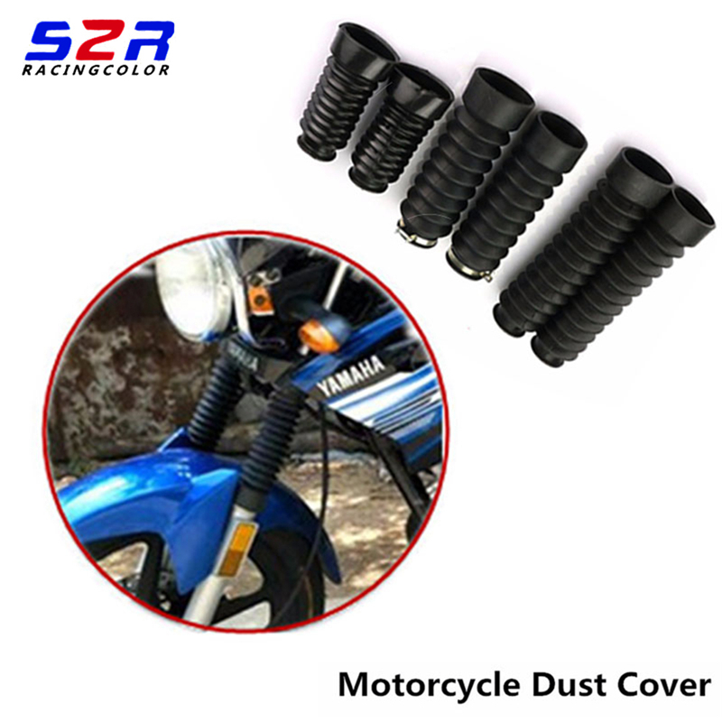 A Pair Dust Cover Motorcycle Off-road Front Rubber Fork Dirt Dust Cover   Motorcycle Fork Rubber Gaiters Boots Protective Sleeve bande réfléchissante scooter orange pour fourche