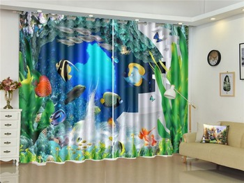 Curtain Beautiful Small Sea Fish Scenery 3D Sea View Curtains Beautiful Practical High-End Curtains