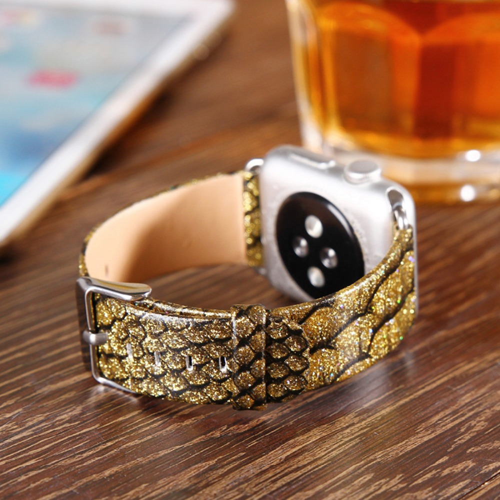 Leather strap For Apple Watch band 42mm 38mm iwatch series 3 21 wrist bands Python straps Bracelet belt with Adapters in Watchbands from Watches