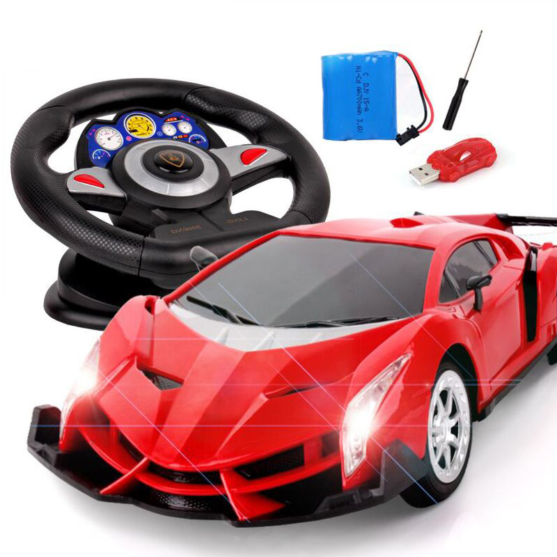 Super remote control car charging steering wheel induction remote control car child toy electric drift vehicle 27mhz 2 ch 1 14 scale a key switch doors steering wheel remote control car w lamp red black
