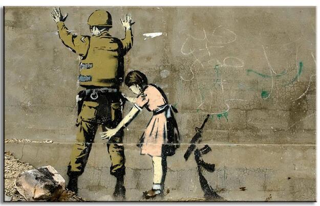 Dipinti banksy art contro la guerra o camera da letto pittura a olio di arte della parete della - Dipinti camera da letto ...