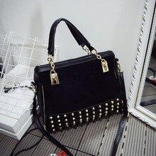 2016 Fashion Women Handbags Nubuck Leather Brand Rivet Bag Lady Hand Bag Women Messenger Bag Female Crossbody Shoulder bag Bolsa