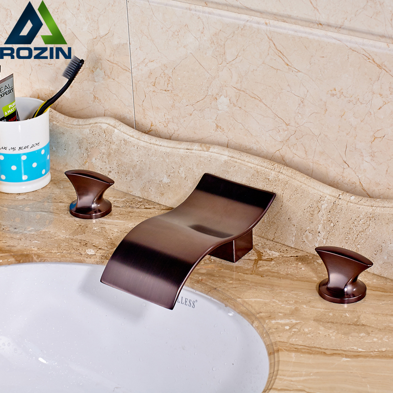 Contemporary Bathroom Waterfall Basin Sink Faucet Widespread Dual Handle Wave Shape Spout Mixer Taps Deck Mounted