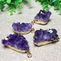 JoursNeige Natural Amethyst Druse Pendant Golden Edging Geometric Pendants Boutique Real Shot Jewelry Gift for Women Jade
