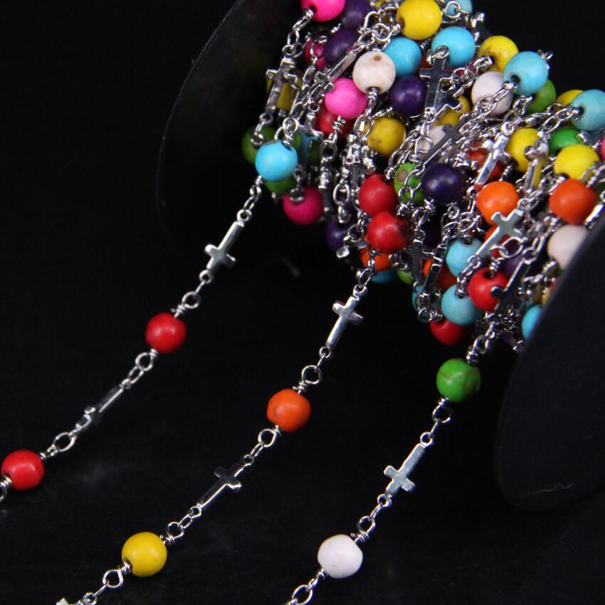 5Meter/lot Multicolor turquoises Round Bead Rosary style Chain,Silver plated cross with Wire Wrapped Women sweater chain