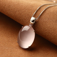 925 Sterling Silver Genuine Natural semi precious stones pendant lotus necklace Girlfriend gift female Jewelry