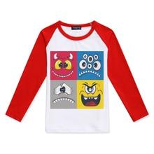 Boy Clothes Kids T-Shirt 2019 Brand Boys Tshirt Long Sleeve Monster Emoticon Printed Baby Girl Tops Tee Children T Shirts Design недорого