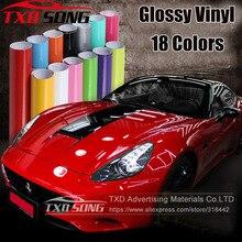 10/20/30/40/50/60*152CM wysokiej jakości biały czarny błyszczący Vinyl Film Gloss vinyl Wrap naklejka na oklejanie samochodów z bąbelkami powietrza