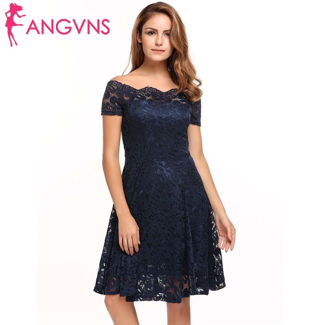 ANGVNS Women Party Lace Dress Casual Short Sleeve Floral Off Shoulder Vintgae Cocktail Formal Swing Dresses Feminino Vestidos