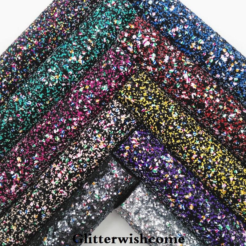 Glitterwishcome 21X29 см A4 Размеры синтетическая кожа, устойчивый блеск кожи, искусственная кожа PU Ткань Винил для Луки, GM037A