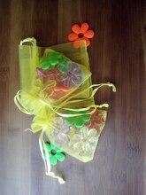 200 unids amarillo del regalo del organza bolsas 11×16 cm bolsos de fiesta para las mujeres evento casarse bolso de Lazo de Exhibición de La Joyería bolsa de Bolsa de accesorios de bricolaje