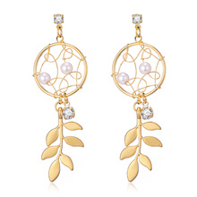 Fashion Dreamcatcher Leaf Long Tessal Pendant Earring for Women Gold Color Alloy Pearl Rhinestone pendientes