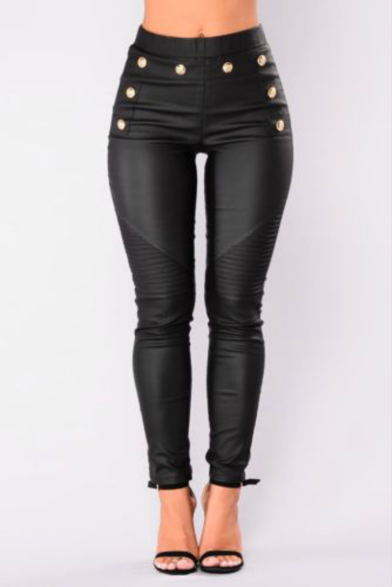 New Women's Skinny Faux Leather Stretch Jeggings Trousers Jeans Pants Leggings Black High Waist