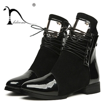 35-43 Women Boots Genuine Leather Flat Martin Ankle