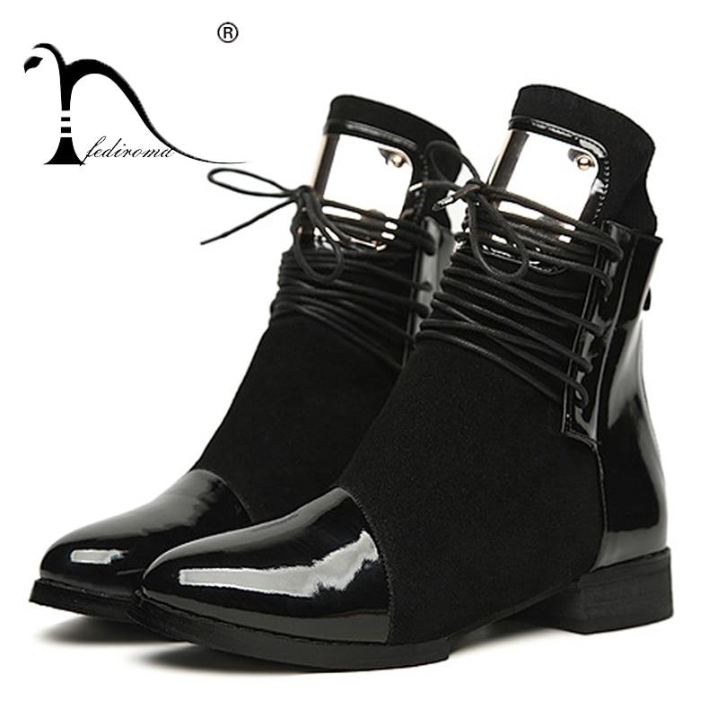36-43 Donne Stivali Cuoio Genuino Piatto Martin Stivaletti Donna Moto Stivali Scarpe Autunno Inverno Delle Donne della pelle Verniciata Botas