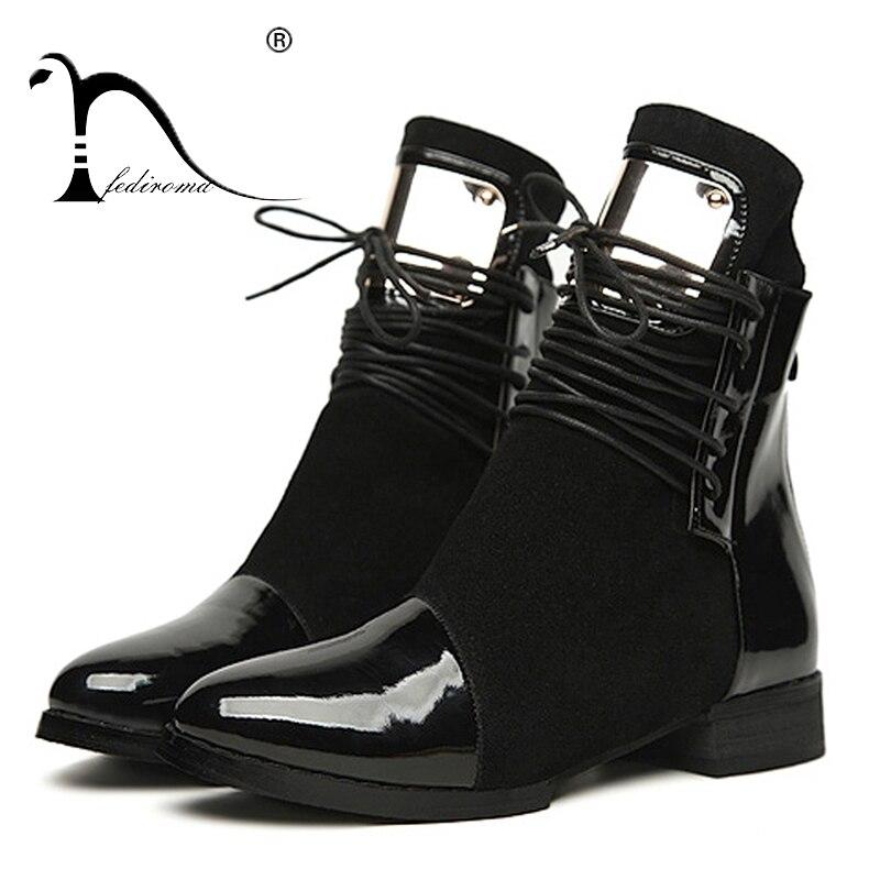 36-43 Mujeres Botas de Cuero Genuino botas Planas Martin Zapatos Botines Para Mujer Botas de Moto de Otoño Invierno de Las Mujeres de charol Botas