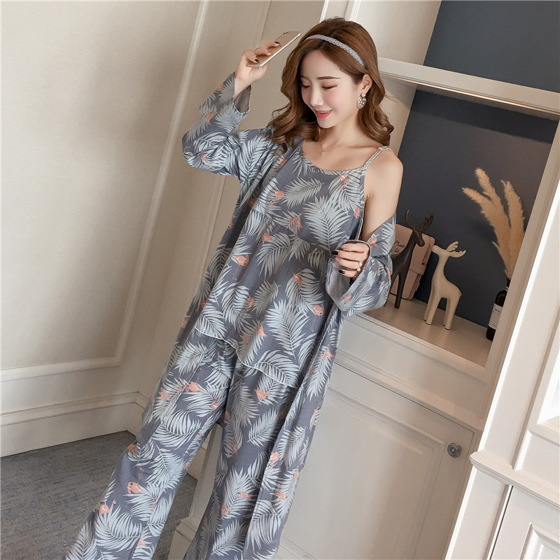 Robes-Sets Pajama Bathrobe Long-Sleeve Cotton Women Homewear Femme Autumn Print for Clothing