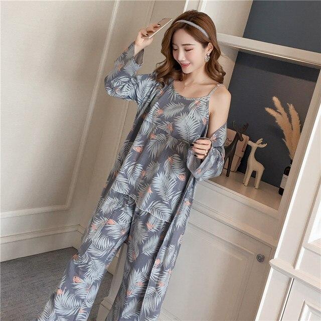 Cotton Robes Sets for Women 2018 New Autumn Winter Fashion Long Sleeve Pajama Femme Flower Print Bathrobe Homewear Home Clothing
