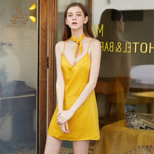 The temptation thin shoulder straps backless cross sling night dress solid color silk sexy lingerie nightgown sleepwear women