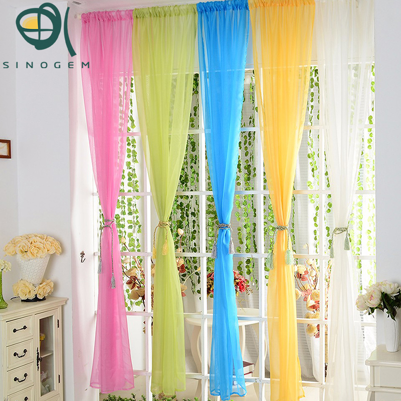 promotion 1pcs hot sale solid color sheer tulle curtain