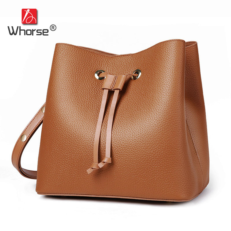 Brand Natural Cowhide Bucket Bag With String Womens Casual Genuine Leather Shoulder Messenger Bags Tote Handbag For Women W09270