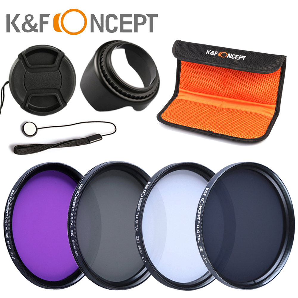 K&F CONCEPT UV+CPL+FLD+ND4 Neutral Density Camera Lens Filter Kit+Bag+Lens Hood Cap+Cleaning Cloth For Canon/Nikon/Sony DSLR 23