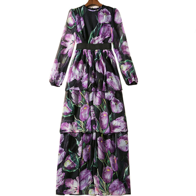 Long Sleeve Floral Print Full Length Party Dress