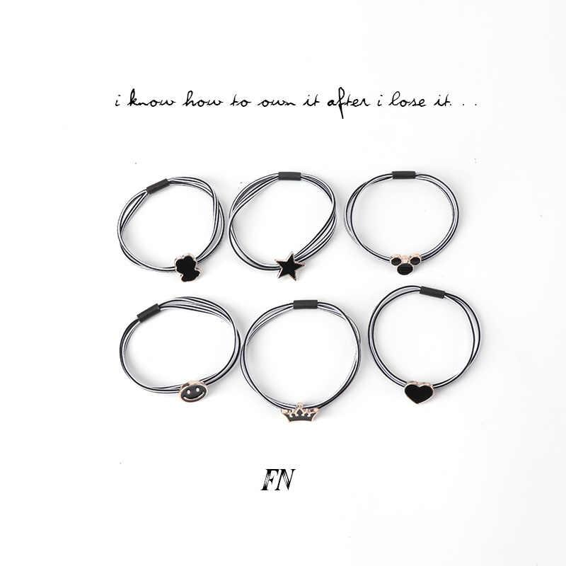 6 узоров, набор, черно-белое эластичное кольцо для волос, резинка для хвоста, лента, милая Простая любовь, медведь, медвежонок, звезда, корона, смайлик, головная веревка