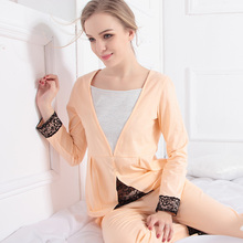 Female 100% Cotton Long-sleeve Lounge Female Lace Autumn And Winter Full Thickening Plus Size Sleepwear