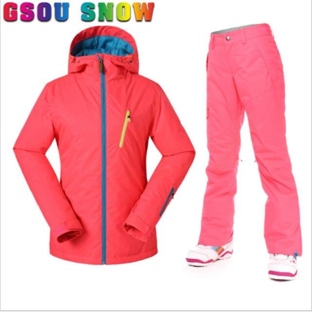 Gsou Snow New Ski Jacket+Pants Women Ski Suit Super Warm Light Top Quality  Waterproof Jacket Snowboard Winter Ski Sport Clothes de5352932