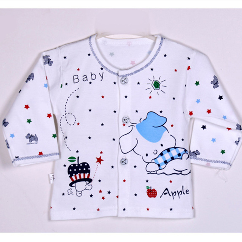 Baby Tops 2017 New Autumn Baby T-shirt Cartoon Cotton Baby Boys Clothing Baby Girls Clothing 2 Colors Free Shipping Fit 0-3M