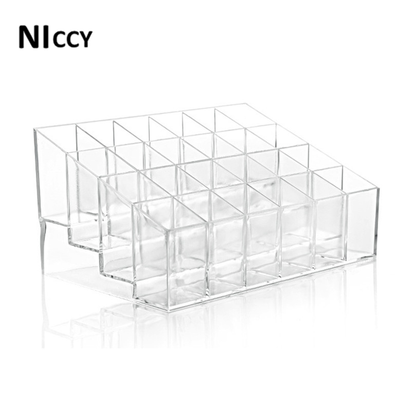 1pc Lipstick Storage Box Transparent 24grids Cosmetic Makeup Organizer Plastic Lipstick Holder Display Stand