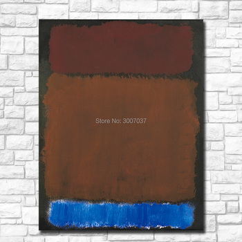 Large Size Wall Pictures For Living Room Mark Rothko wine rust blue on black Painting Canvas Art Home Decor Modern Oil Painting