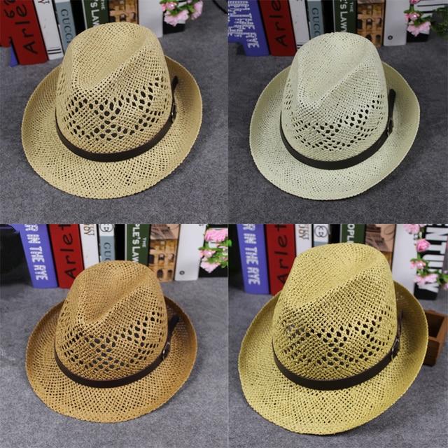 85a6443c7d1ae Hi-Q Men Women Handmade Fedora Panama Hats Soft Hollow wide brim Beach  Sunhat British