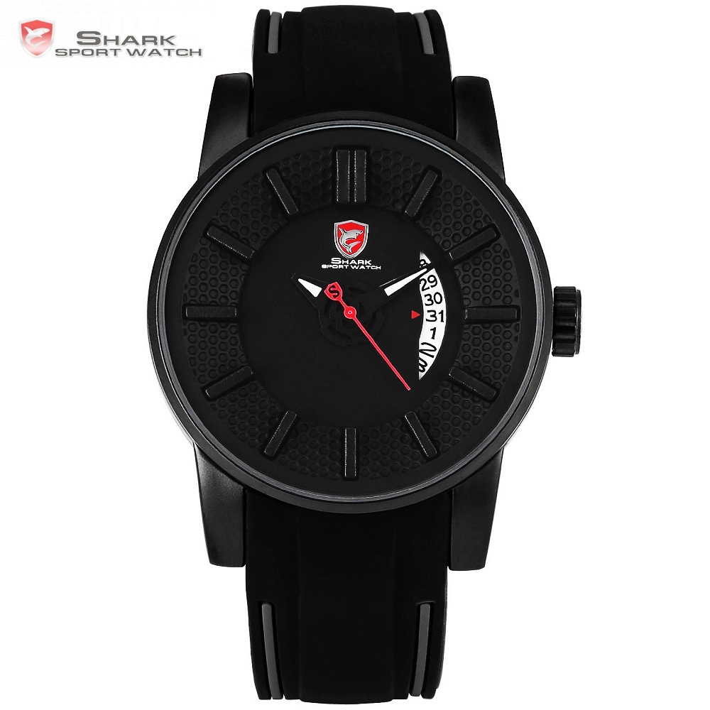 Gray Reef Shark Sport Horloge Zwart 3D Special Designer Topmerk Luxe Datum Siliconen Band Waterdicht Quartz Herenhorloges / SH477