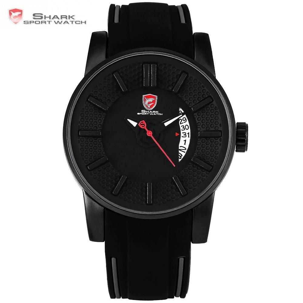 Gray Reef Shark Sport Watch Negro 3D Diseñador especial Marca de lujo Fecha Banda de silicona Reloj de cuarzo impermeable para hombre / SH477
