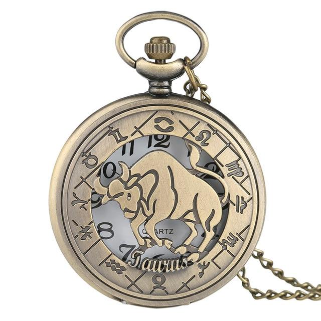 Scorpio Quartz Pocket Watch Bronze Constellations Necklace Modern Women Men 12 Horoscope Tender Top Birthday Gift
