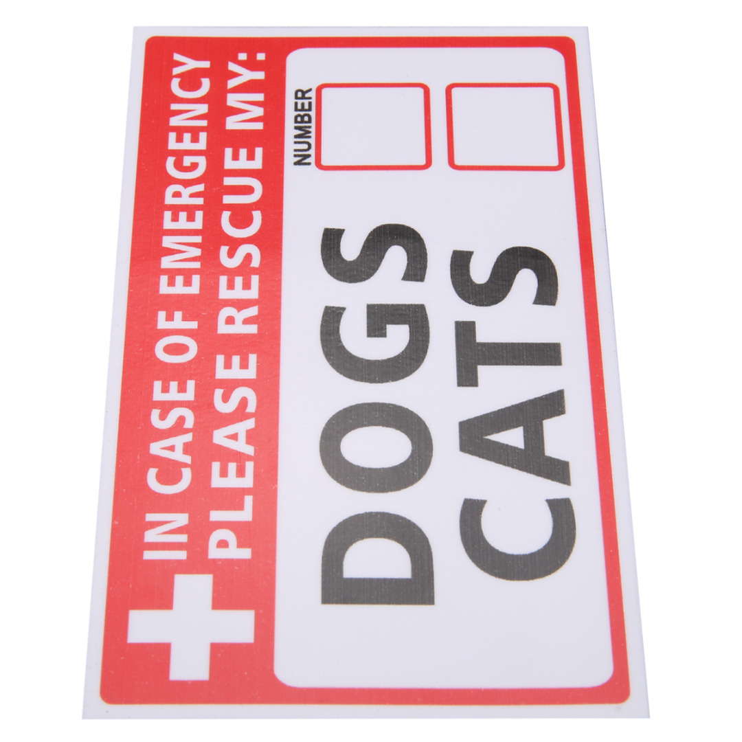 Mayitr 2Pcs Emergency Pet Rescue Label Signs Decal Dog Cat Vinyl Sticker First Responder Fire Safety Warning signs