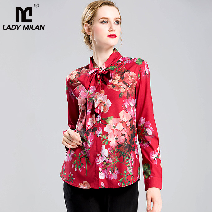 New Arrival 2018 Womens Bow Detailing Collar Long Sleeves Floral Printed Elegant Fashion Runway Shirts