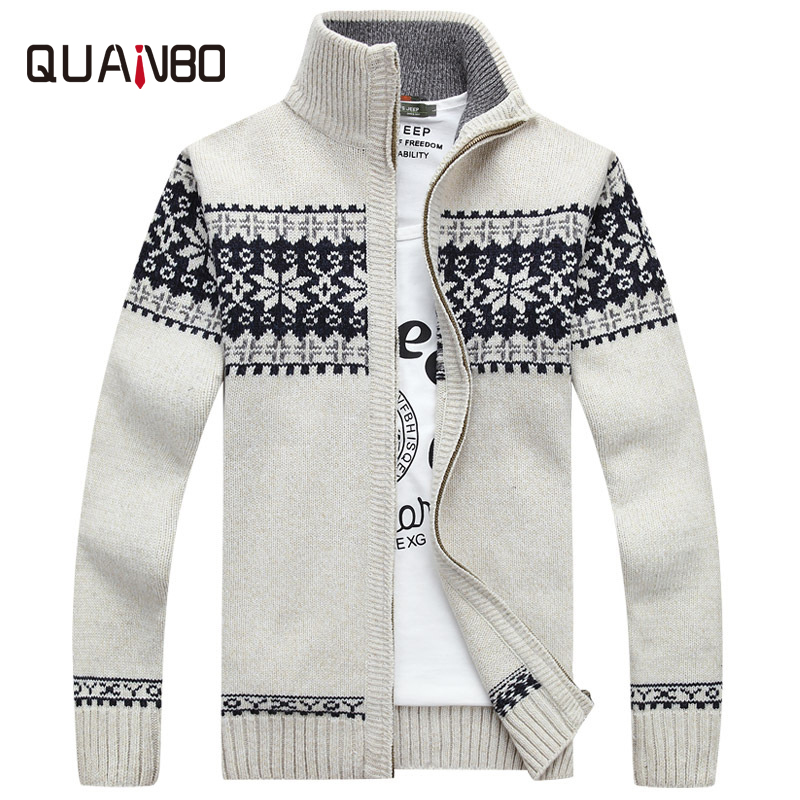QUANB 2018 New Arrival Autumn Winter Men's Casual Sweaters Knitted Zipper Cardigan Top Quality Print Christmas Sweater Brand