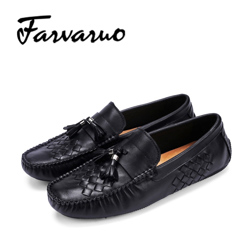 Farvarwo 2017 Fashion Mens Casual Loafers Genuine Leather Slip-on Driving Shoes Soft Moccasins New Spring Men Flats Tassel Shoes fonirra genuine cow leather mens loafers moccasins leather men flats slip on men leather shoes men driving shoes 720