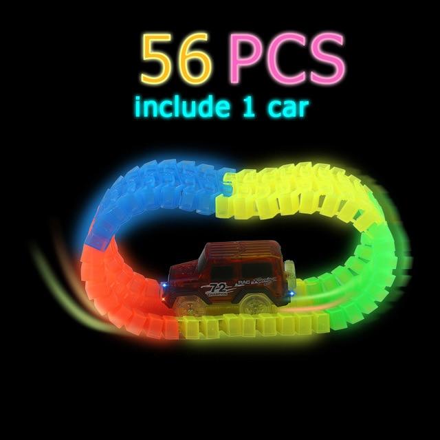 Светящийся гоночный трек изгиб Flex вспышка в темноте сборки гибкий игрушечных автомобилей/165/220/240 шт светящийся гоночный трек Набор DIY головоломки игрушки - Цвет: 56 pcs with 1car
