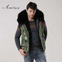 New Fashionable Fur Big Hooded Vest Jacket Men Badge Beading Winter Fur Vest Male