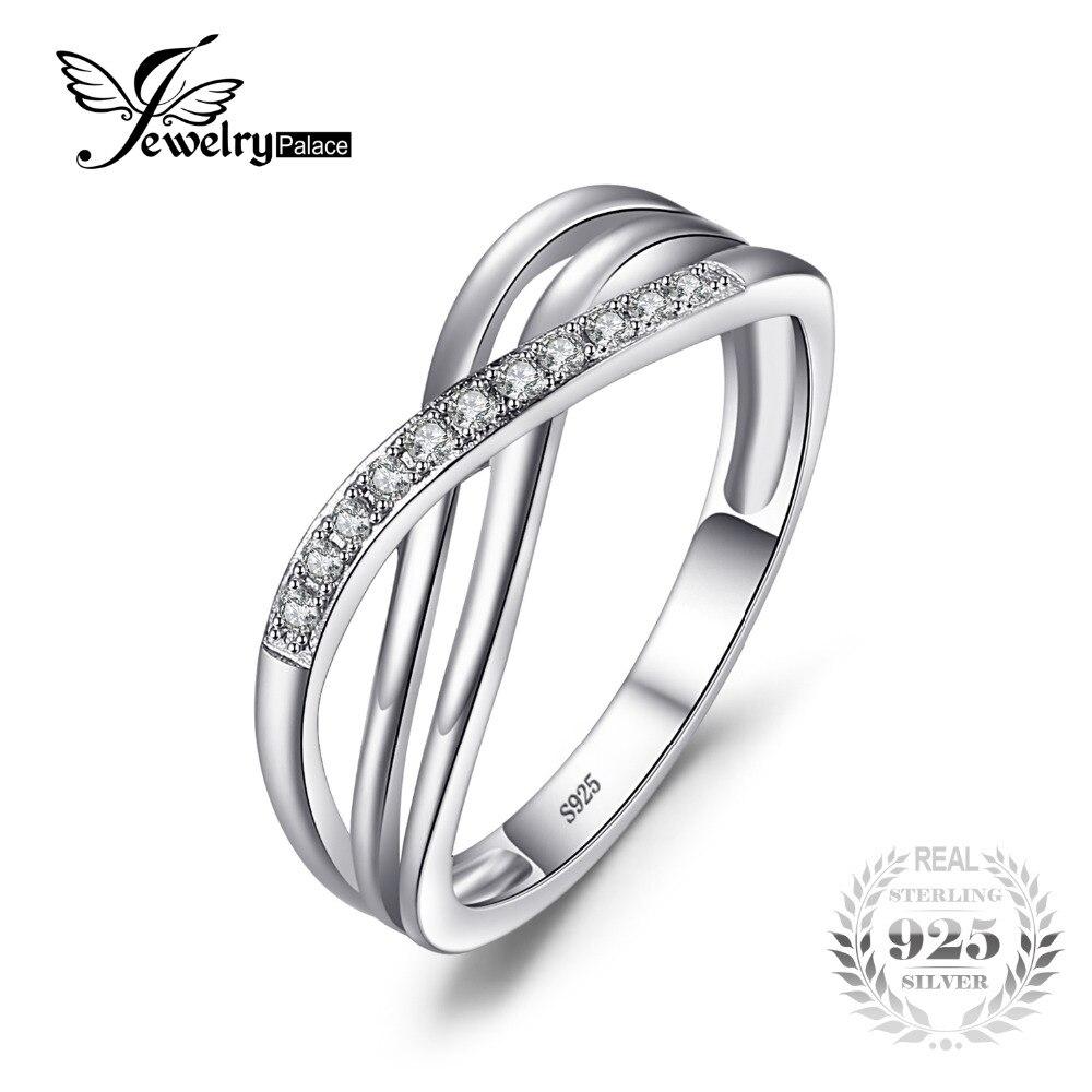 3a5c10264c31 JewelryPalace Nudo Infinito Cubic Zirconia Aniversario Promesa Wedding Band  Anillo de Plata de Ley 925 Mujeres