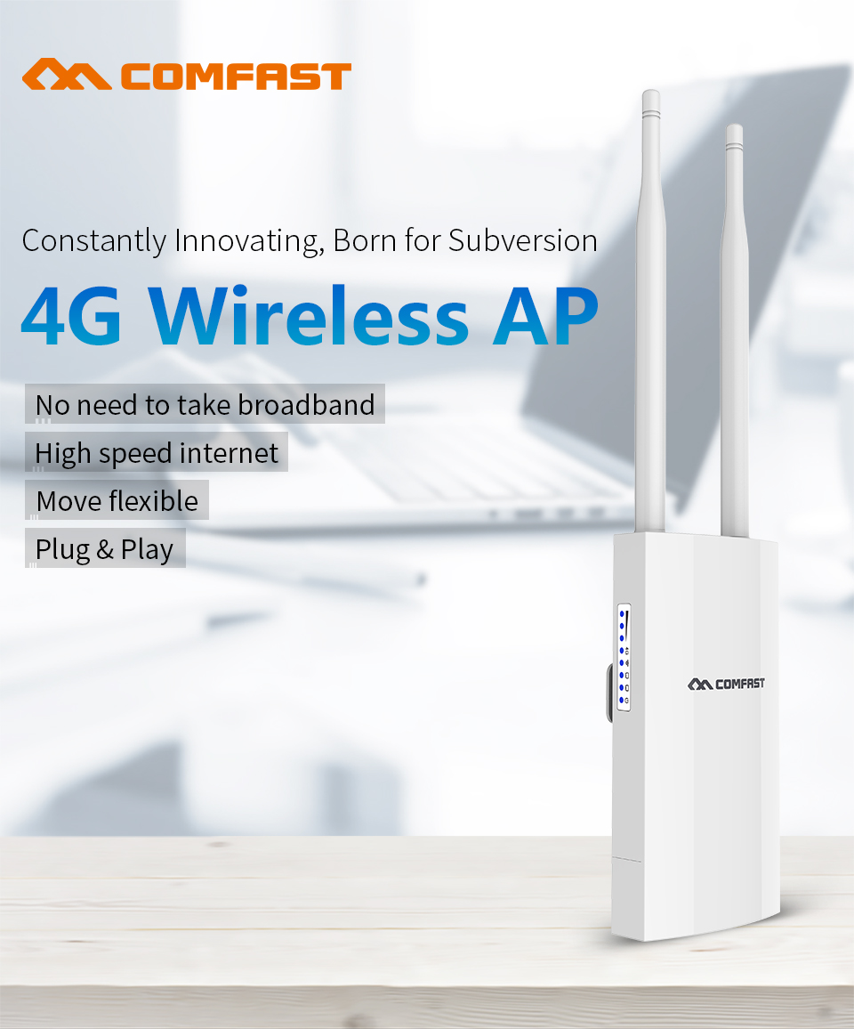 COMFAST CF E5 Portable 4G SIM Card Wireless AP WiFi Router IP66 Waterproof White With EU